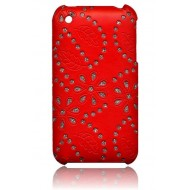 COQUE STRASS FLEURS POUR IPHONE : ROUGE