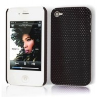 POUR IPHONE 4 / 4S : COQUE NOIRE PERFOREE